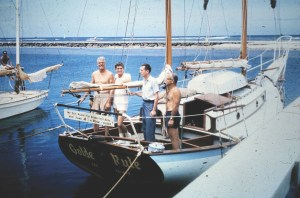 Golden Rule in 1958. From left to right: Captain Albert S. Bigelow, Orion Sherwood, WIlliam Huntington, and George Willoughby. Courtesy Jessica (Reynolds) Renshaw.