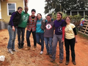 A group of QVS Volunteers at a Habitat for Humanity site.
