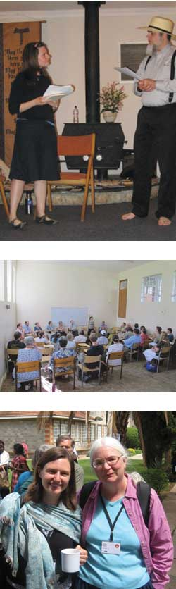 From top: The author with Mark Wutka, spring of 2011; the author leading a thread group at the 2012 World Conference of Friends in Kenya; the author with Lucy Fullerton at the 2012 World Conference of Friends in Kenya. Top two photos © Joe Snyder; bottom © Chris Mohr.