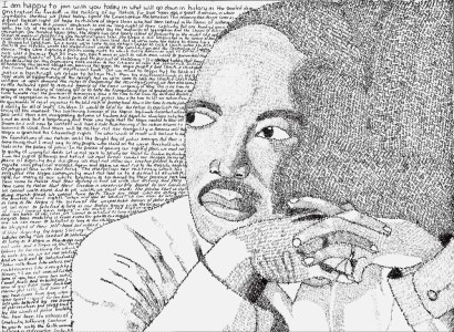 "Depiction of Martin Luther King Jr. using the words from his ""I Have a Dream"" speech. Artwork by Erica McQuartin, coauthor of the Young Friends minute."