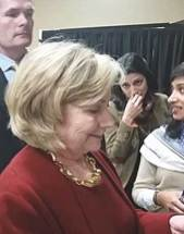 Hillary Clinton answers Scattergood Friends School student.