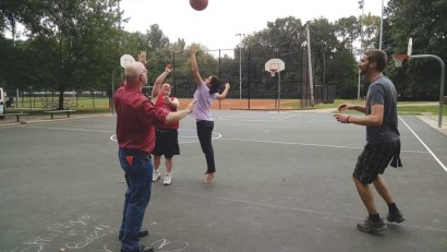 L'Arche Atlanta crew playing basketball.