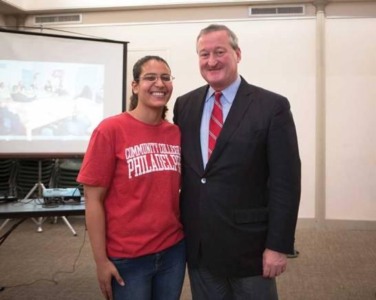 Amira Mohamed with Philadelphia mayor-elect Jim Kinney at Friends Center for the mural dedication, December 2015 (Photo Steve Weinik).
