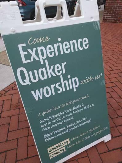 Central Philadelphia (Pa.) Meeting worship sign.
