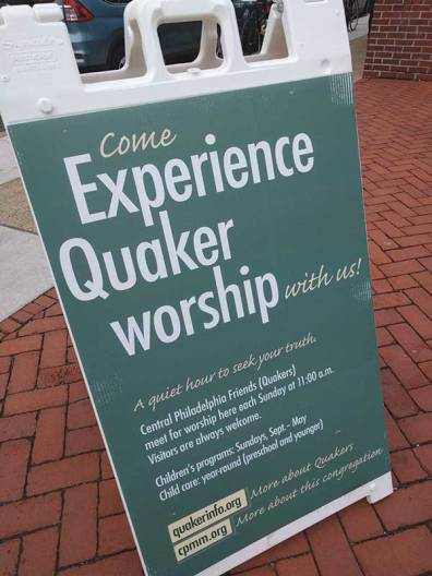 Central Philadelphia (Pa.) Meeting worship sign.