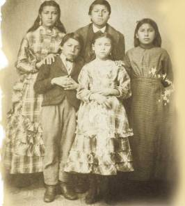 Mary B. Lightfoot's Iowa students at the Quaker boarding school (also called the Iowa Home) on the Great Nemaha Reservation, Nebraska. Courtesy of Friends Historical Library at Swarthmore College.