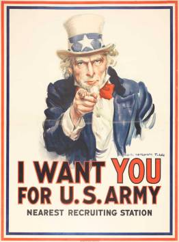James Montgomery Flagg (1877–1960) I Want YOU for U.S. Army, Nearest Recruiting Station, 1917. Poster, 40 × 29 1⁄2 in. The Library Company of Philadelphia