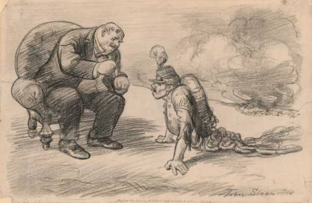 """John Sloan (1871–1951) After the War, a Medal and Maybe a Job, 1914, published with the caption """"His Master: You've done very well. Now what is left of you can go back to work,"""" in The Masses, September 1914. Charcoal and crayon on paper, 12 7/8 × 19 1⁄2 in. Library of Congress, Washington, DC, Prints and Photographs Division"""