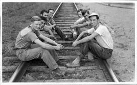 Author (right foreground) with other men campers
