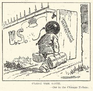 """Close the Gate,"" a political cartoon during the First Red Scare advocating restrictions on immigration. ""The Literary Digest,"" 7/5/1919. Originally in the Chicago Tribune. © Wikimedia Commons."