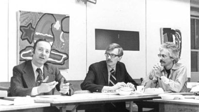 The author (left) in AFSC's New York Metro Regional Office, with Jerald Ciekot and J. Collett. Photo courtesy of AFSC Archives.
