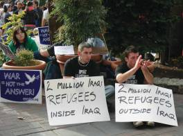 """FCNL's """"War is Not the Answer"""" campaign was created after the terrorist attacks of 9/11 and its sign has become ubiquitous. Here it is at a 2007 antiwar rally in Seattle, Wa. © Joel Mabel @commons.wikimedia.org."""