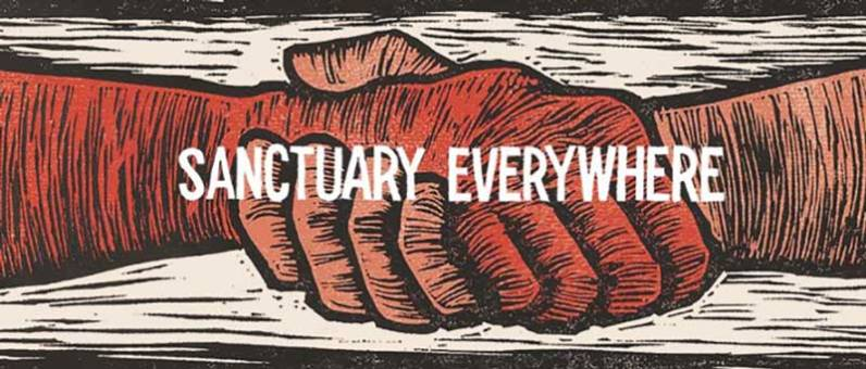 AFSC Sanctuary Everywhere logo by Emily Cohane-Mann.
