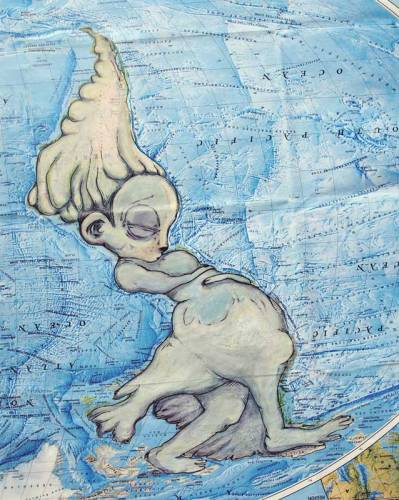 Walking to Water (acrylic and ink on found maps).