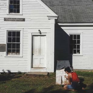 Author Maggie Nelson recreates the meetinghouse as a model and costume, which would later come to life in her film about the historic Friends Camp building.