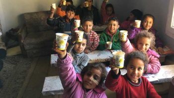 Syrian children at a feeding station in Turkey administered by TIAFI (Team International Assistance for Integration).