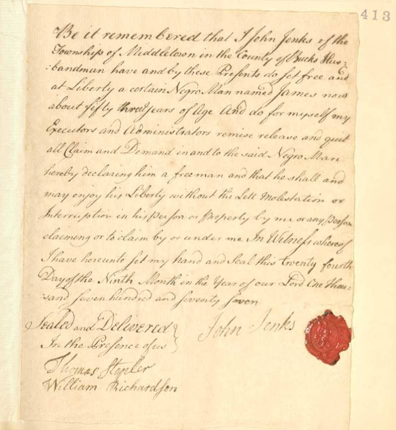 Manumission document by slave owner John Jenks, courtesy of Middletown Meeting.