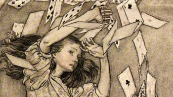 """Detail from Arthur Rackham's illustration for a 1907 edition of Lewis Carroll's <i>Alice in Wonderland</i>. <a href=""""https://commons.wikimedia.org/wiki/File:Alice_in_Wonderland_by_Arthur_Rackham_-_15_-_At_this_the_whole_pack_rose_up_into_the_air_and_came_flying_down_upon_her.jpg"""">Via Wikimedia</a>"""