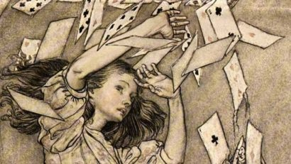 "Detail from Arthur Rackham's illustration for a 1907 edition of Lewis Carroll's <i>Alice in Wonderland</i>. <a href=""https://commons.wikimedia.org/wiki/File:Alice_in_Wonderland_by_Arthur_Rackham_-_15_-_At_this_the_whole_pack_rose_up_into_the_air_and_came_flying_down_upon_her.jpg"">Via Wikimedia</a>"