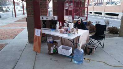 Initial set up at the farmers' market.