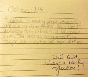 Sixth-grade journal entry by Ellie Bradley.