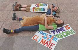 Reece and Kallan Benson climate striking, May 2019, Columbus, Ohio.