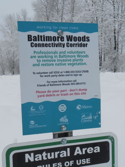 Baltimore Woods sign, meadow in winter. Jan. 27th, 2017