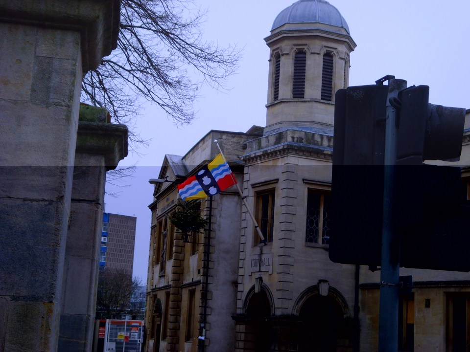 Bedfordshire flag flying outside town hall, Bedford