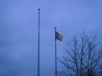 Bedfordshire flag flying outside Central Bedfordshire Council's offices in Dustable