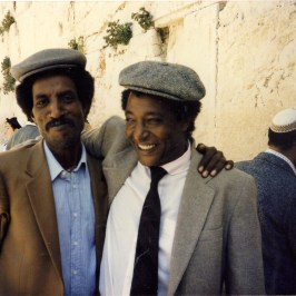 Ferede Aklum and (L) and Baruch Tegegne (R) at Western Wall in Jerusalem