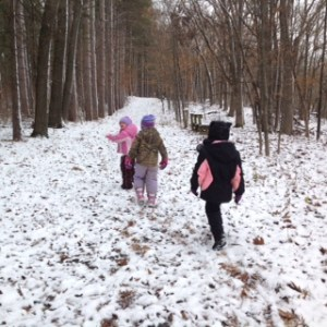 Children hiking in the snow