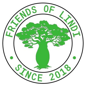 Logo with Friends of Lindi Since 2018 circled around a tree