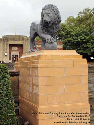 The newly unveiled lion at Stanley Park