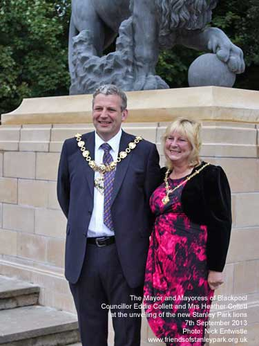 The Mayor and Mayoress of Blackpool at the lion unveiling ceremony