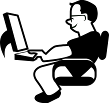 man on laptop graphic