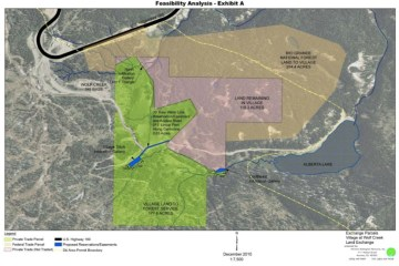 A map included in a feasibility analysis shows the lands near Wolf Creek proposed for a trade