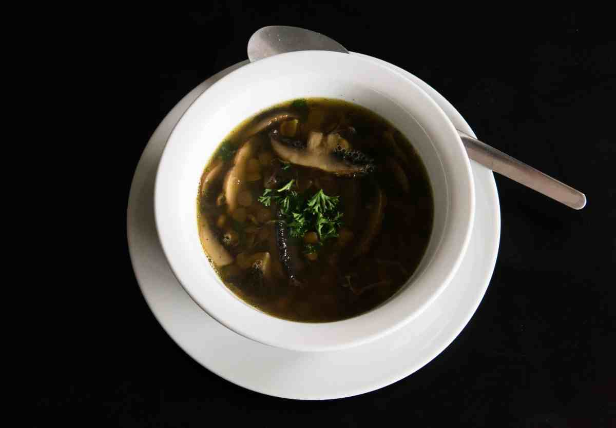 Lentil and Mushroom Soup with parsley. Gluten free, vegan and delicious.