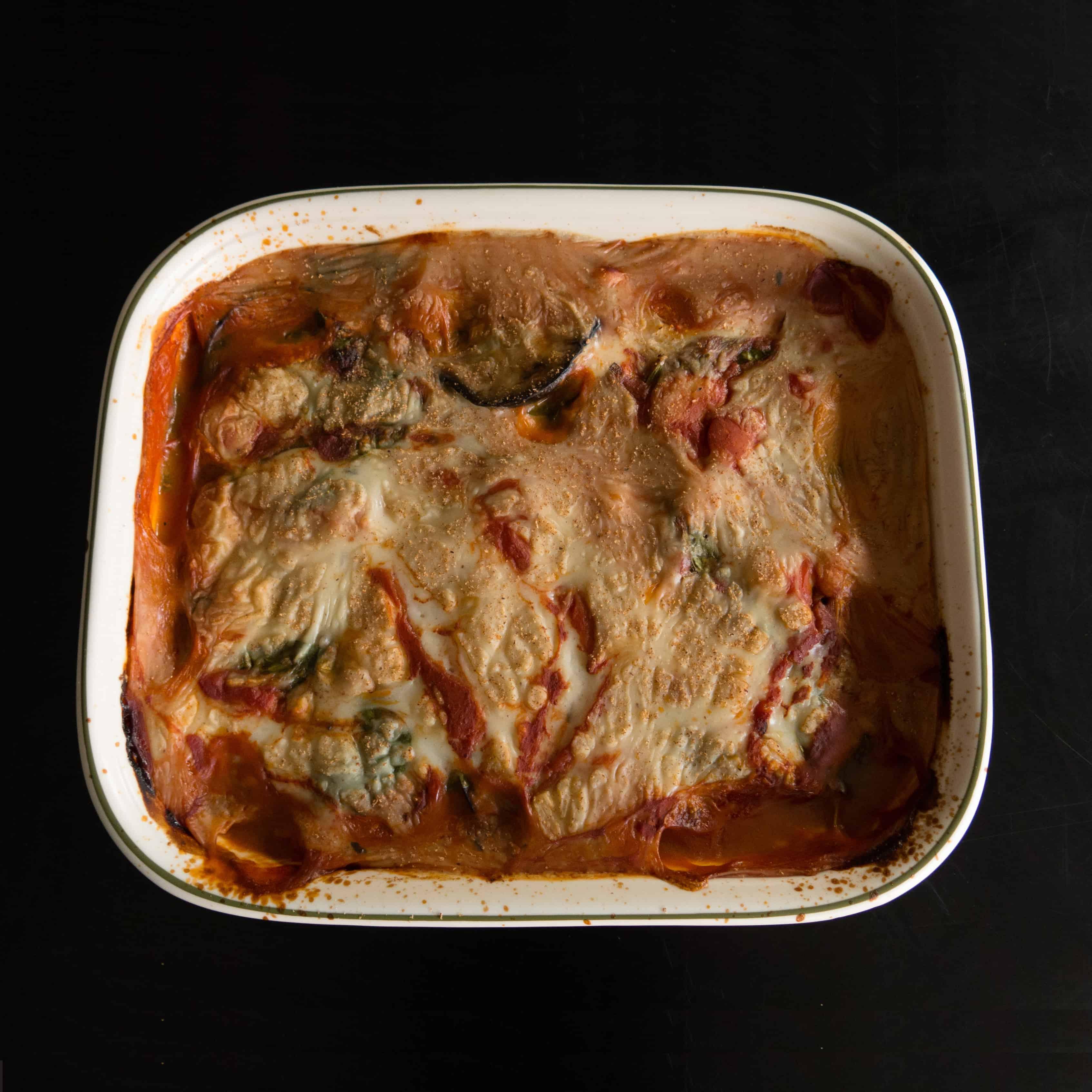 Gluten free, vegan aubergine and butter bean bake. Ready to eat.