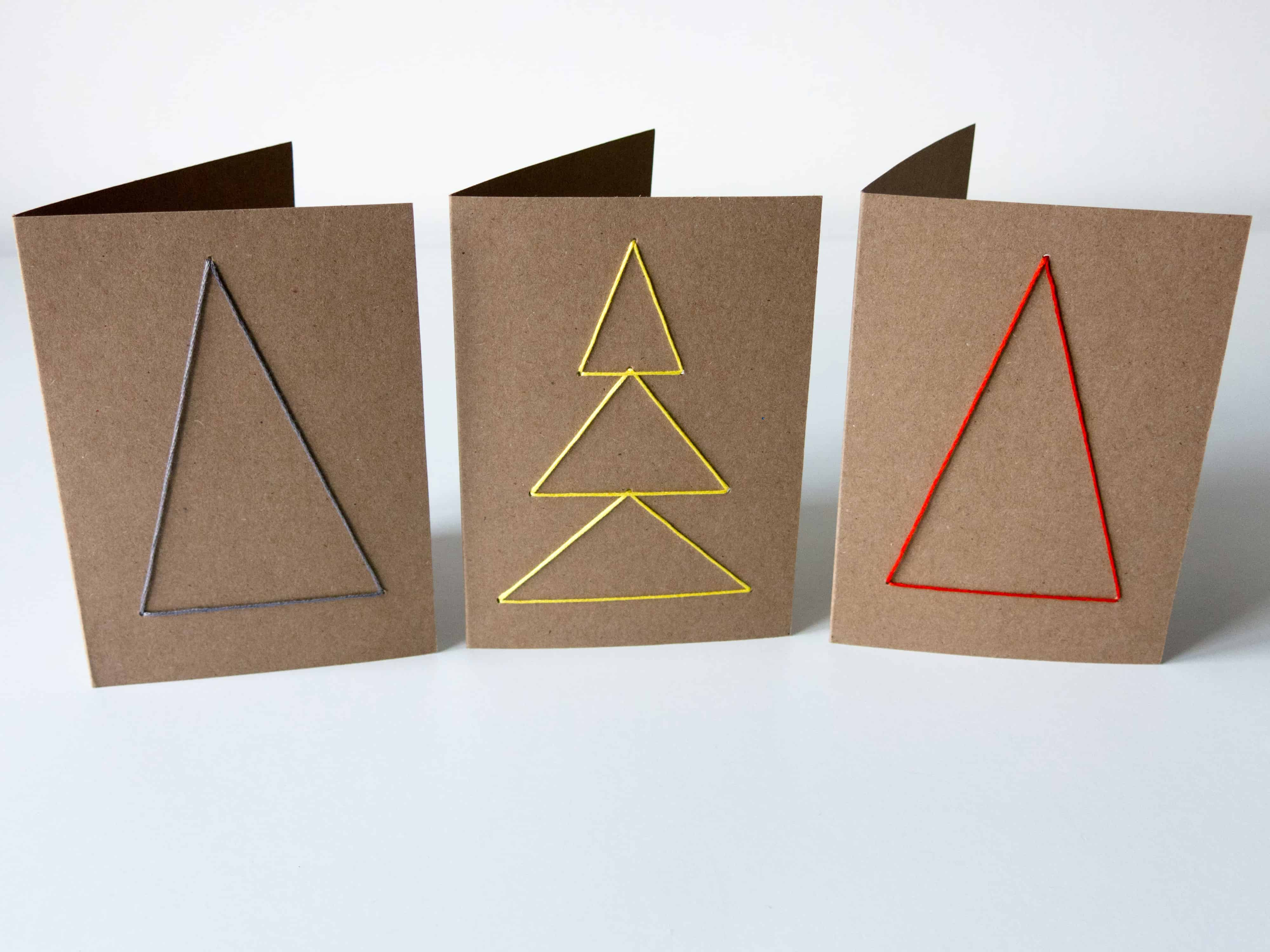 Spectacular home-made embroidered Christmas cards. Look amazing and easy to make. Naive Christmas trees