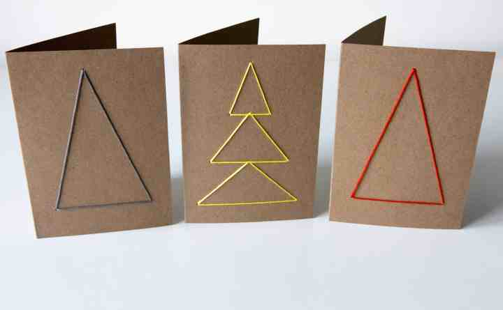 Spectacular Christmas Cards. Home-made embroidered cards. Look amazing and easy to make. Naive Christmas trees.