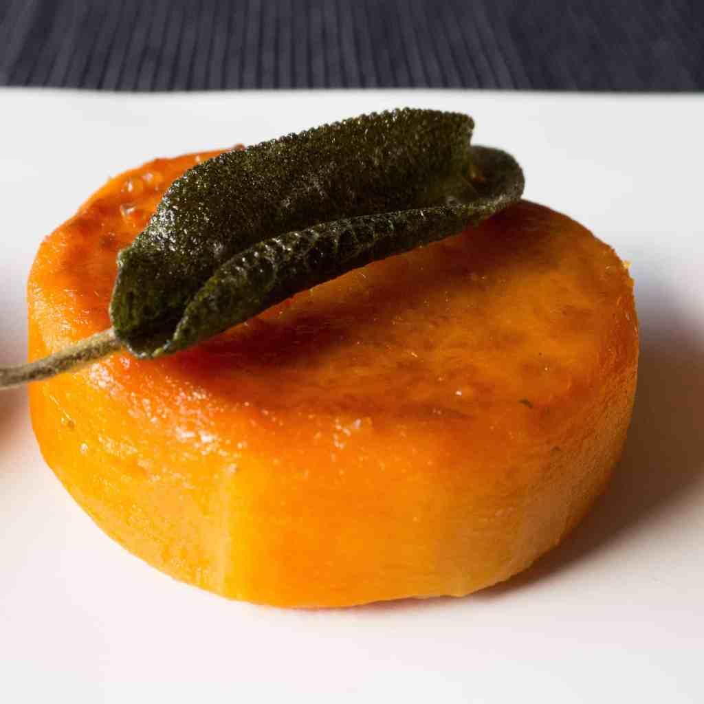 Vegan fondant butternut squash with crispy sage