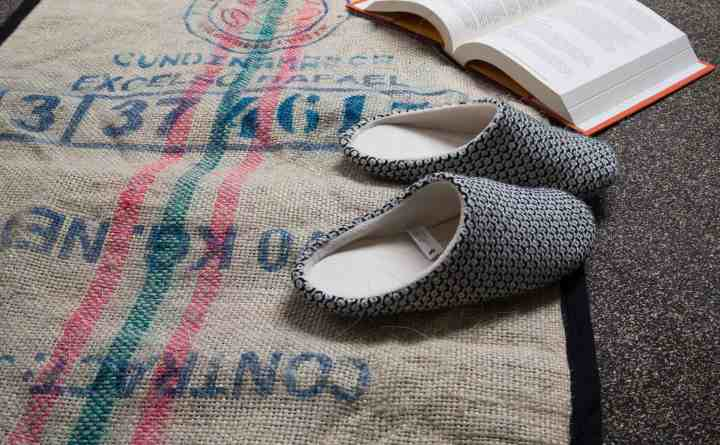 Rug made from an old coffee bean sack