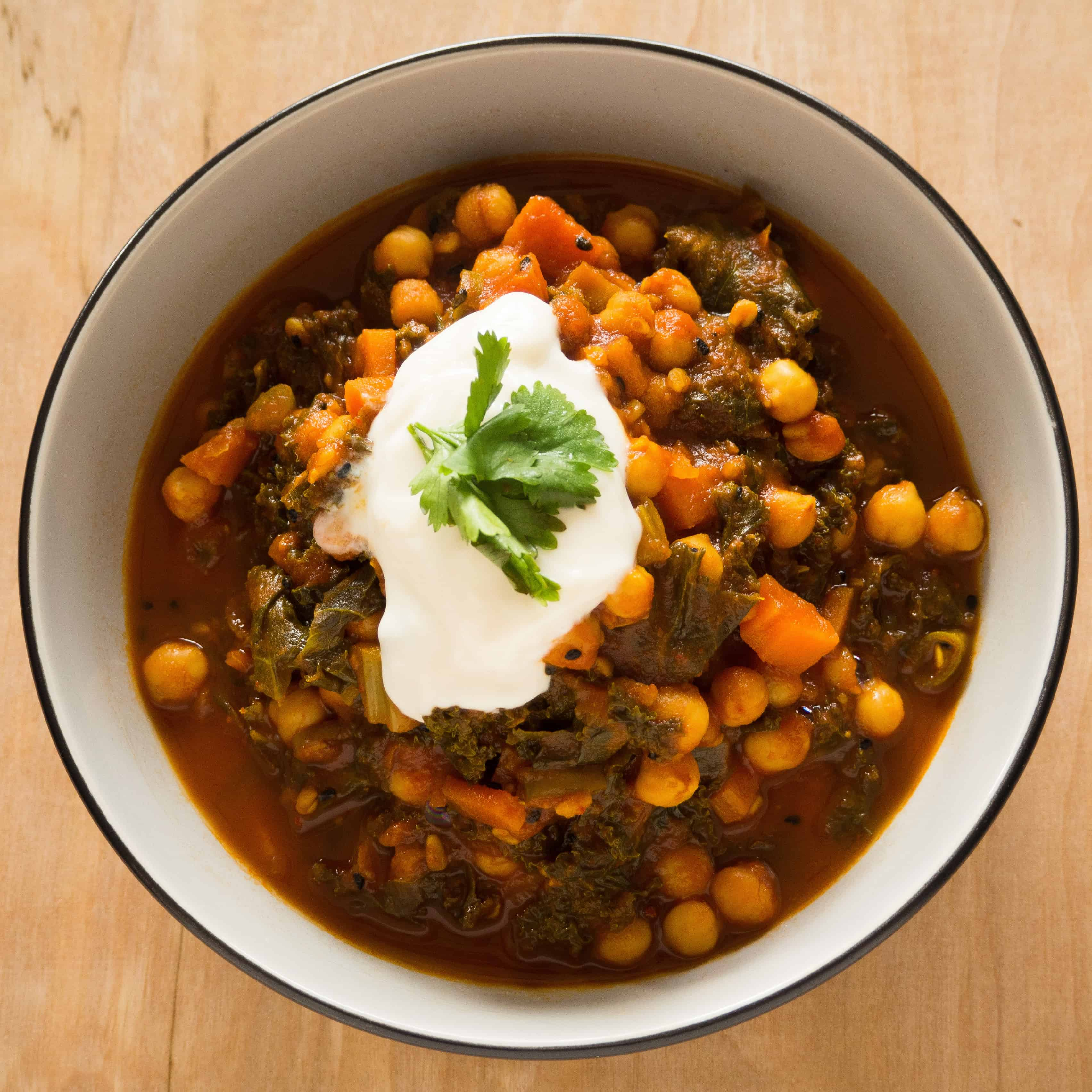Chick Peas and Kale in Tamarind Tomato Sauce