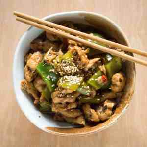 Gluten-free, vegan, tofu and green peppers in black bean sauce