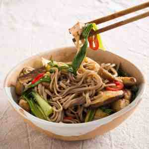 Sesame Noodles with Shitake Mushrooms and Pak Choi. Gluten-free | vegan | allergy friendly