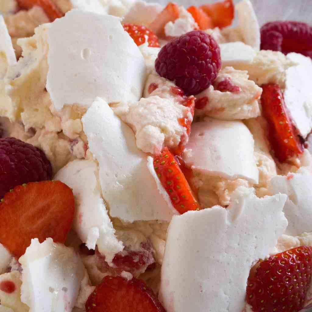 Gluten-free, vegan Strawberry and Raspberry Eaton mess