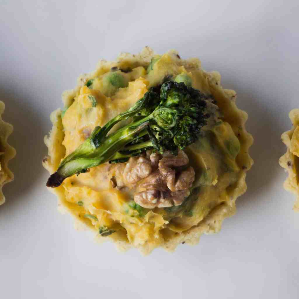 Purple Sprouting Broccoli and Walnut Tart
