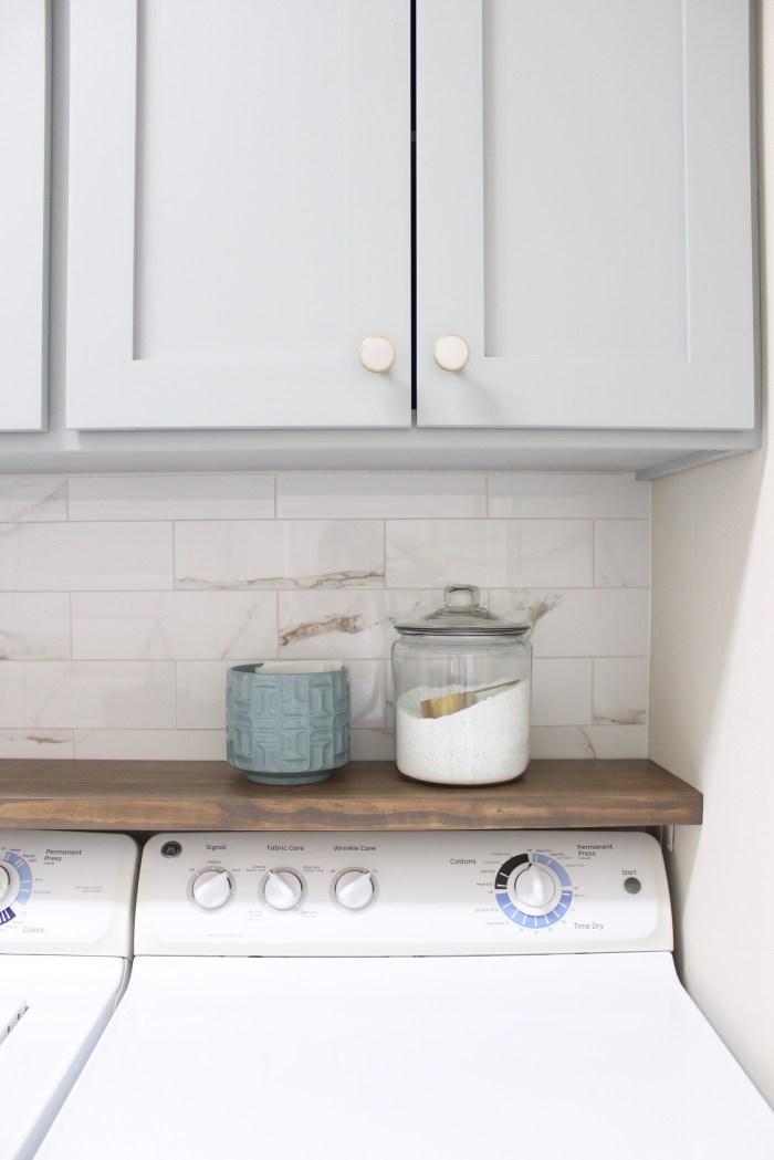 laundry room-diy-shelf-above-washer-dryer