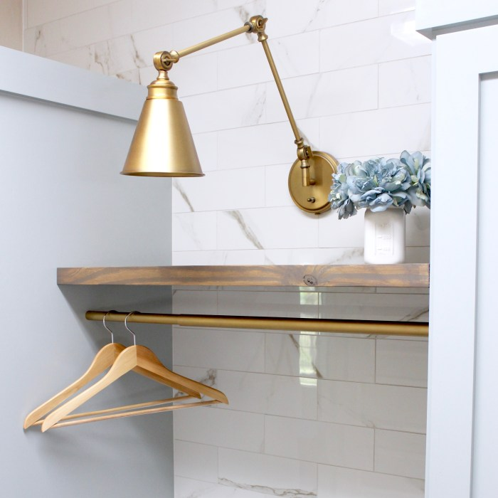 laundry room-gold-sconce-light-diy-marble-wall-tile-rustic-shelves