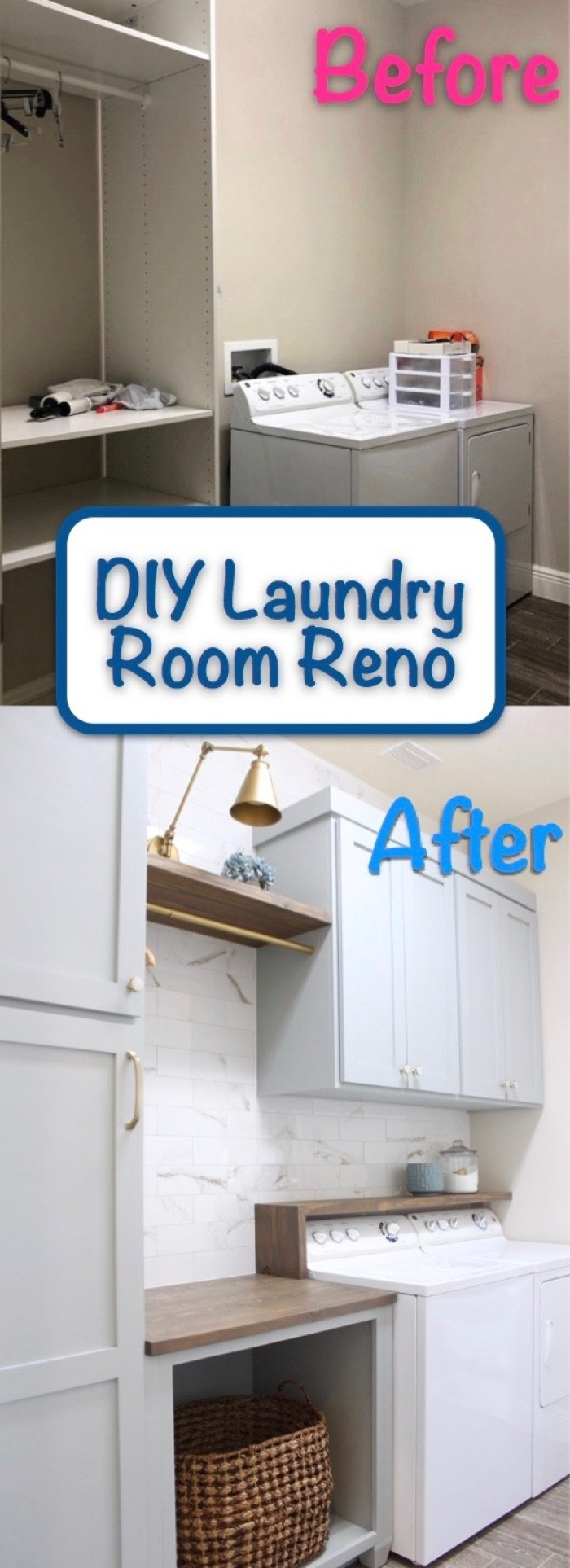 laundry_room_diy_reno_blue_painted_cabinets_tile_wall_marble_gold_sconce_light_before_after